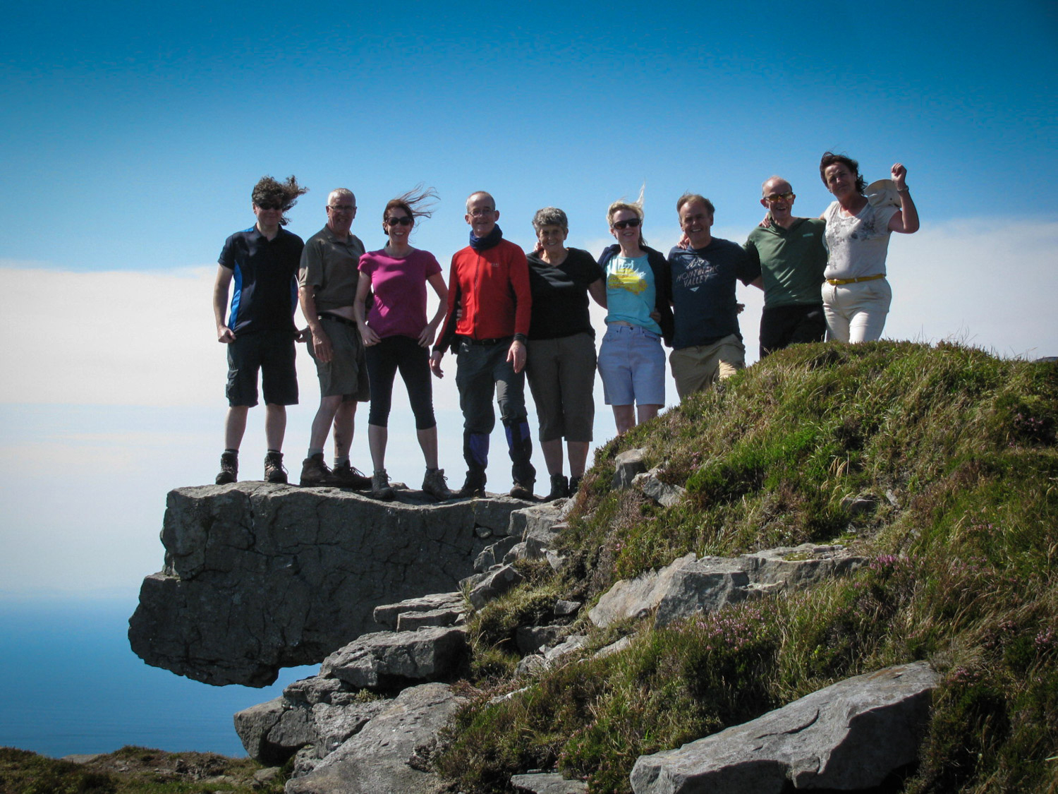 Our hillwalkers on top of Slieve League.